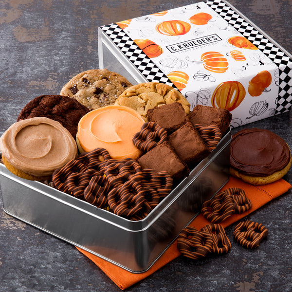 Pumpkin Gift Tin - Cookies & Snacks