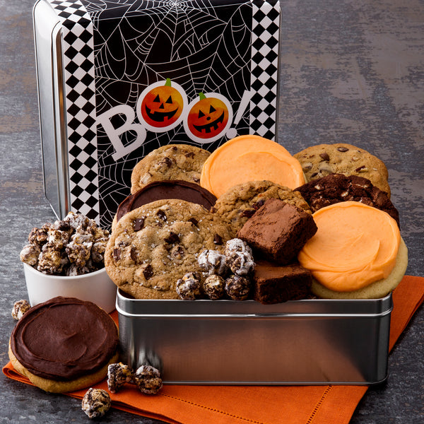 Halloween BOO Spider Web Gift Tin - Cookies & Snacks