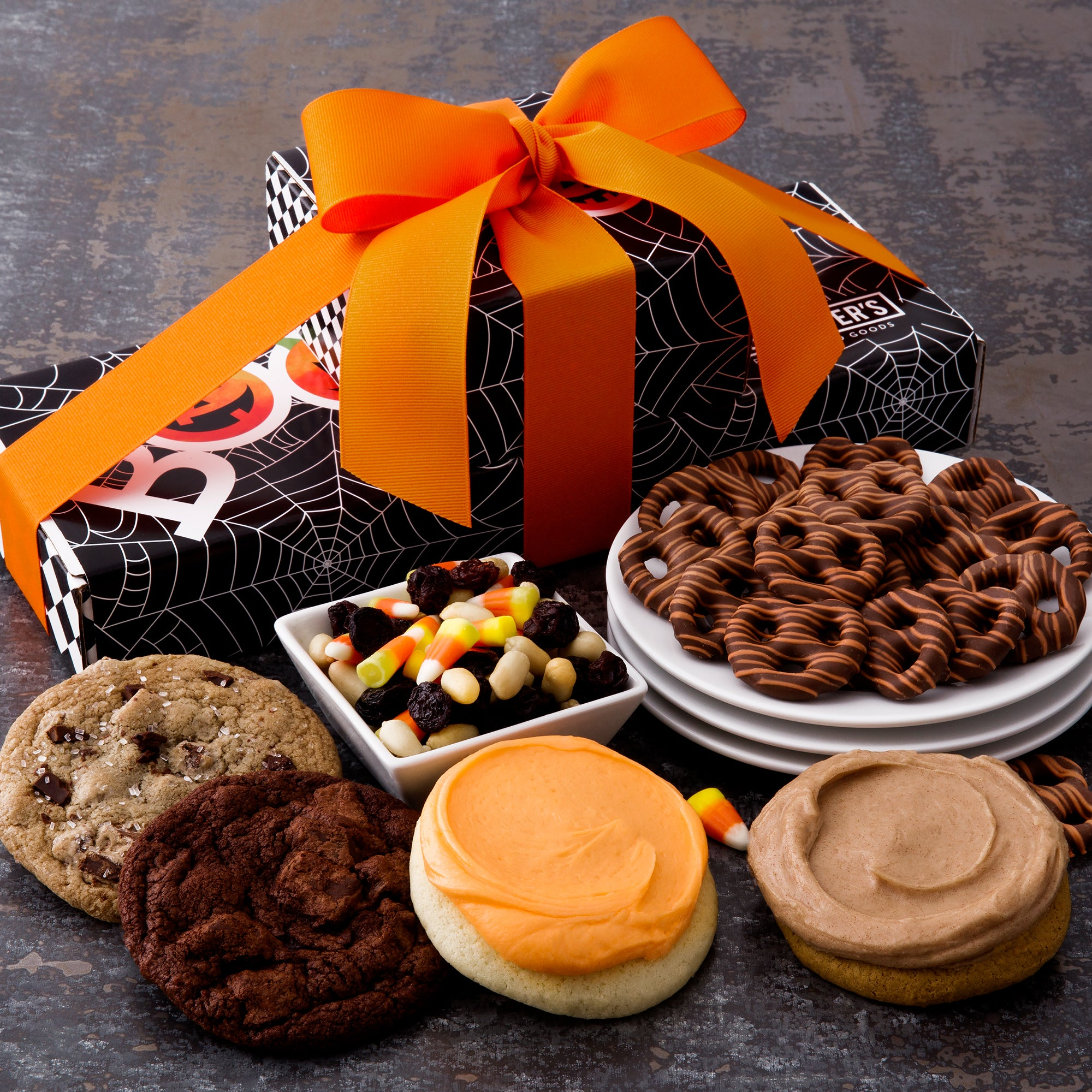 Halloween BOO Spiderweb Snack Stack