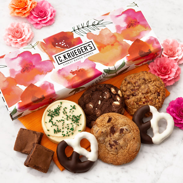 Watercolor Poppies Sampler Box - Cookies & Snacks