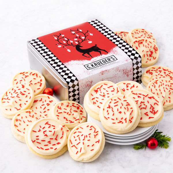 Holiday Reindeer Gift Tin - Buttercream Iced Sugar Cookies