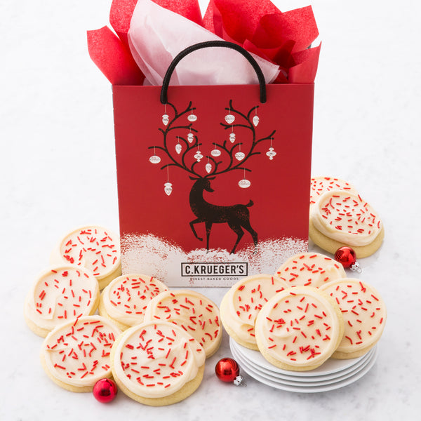 Winter Deer Gift Bag - Buttercream Iced Sugar Cookies