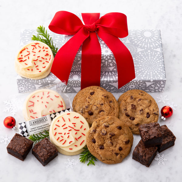 Silver Snowflake Gift Stack - Sample Cookie & Brownie Assortment