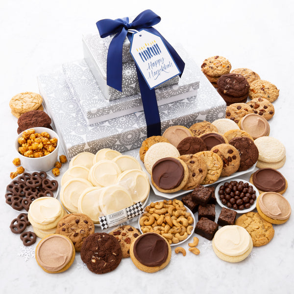 Happy Hanukkah Deluxe Gift Stack - Cookies & Snacks