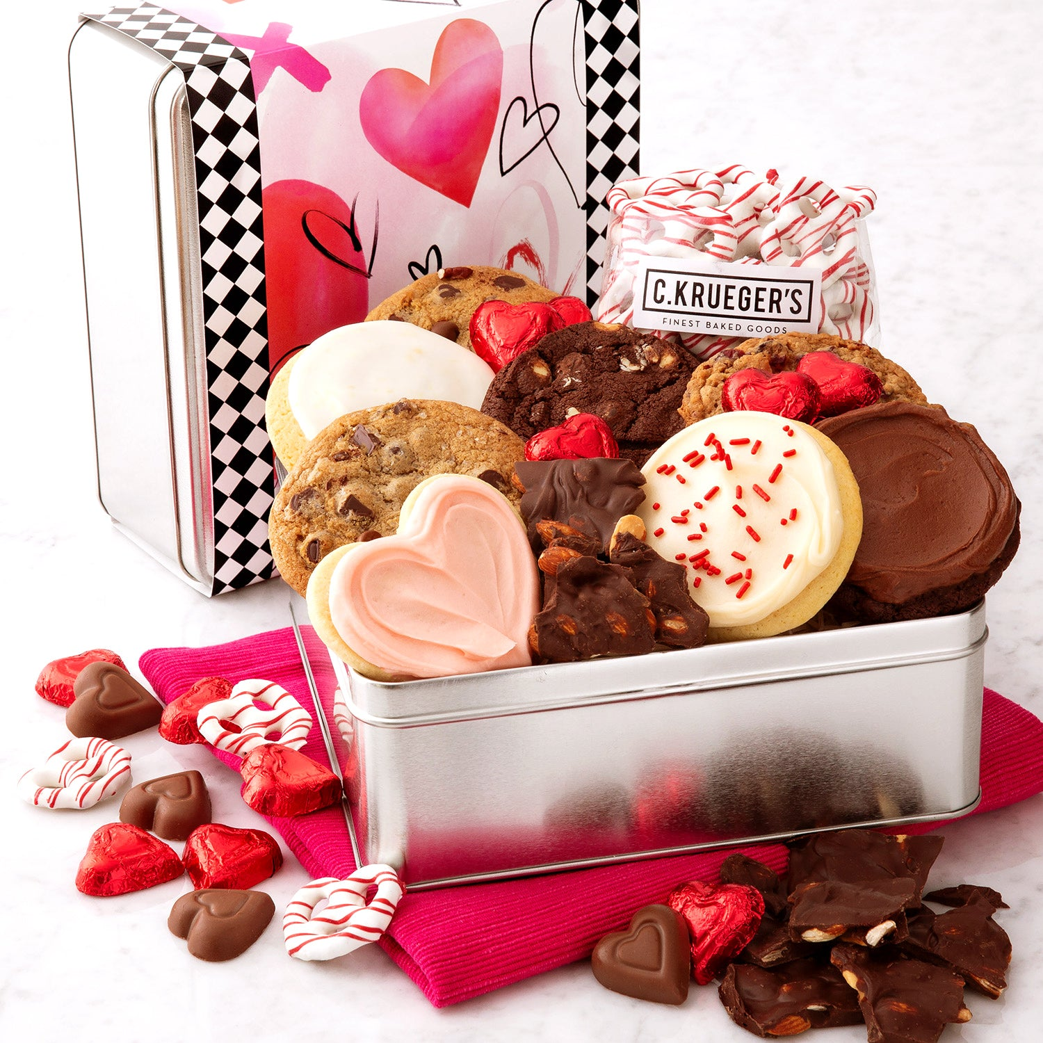 Valentine Watercolor Hearts Cookies & Snacks Gift Tin