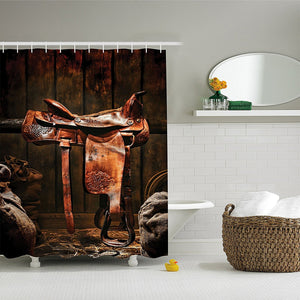 Rodeo Cowboy Leather Western Saddle on Wood Beam in Rustic Ranch Wood Barn Picture, Polyester Fabric Bathroom Shower Curtain