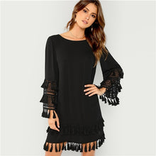 Load image into Gallery viewer, Black Tassel Detail Solid Dress Elegant Fringe Cut Out Straight Short Dress