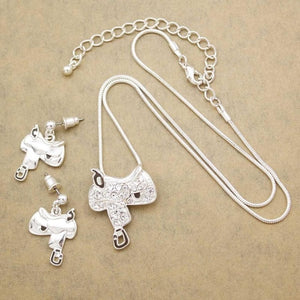 Western Texas Cowgirl Horse Saddle Crystal Rodeo Snake Chain Drop Dangle Earrings Pendant Necklace Set Jewelry