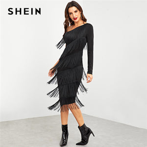 Black Party Going Out One Shoulder Layered Fringe Embellished Dress