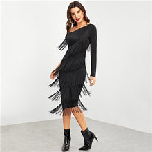 Load image into Gallery viewer, Black Party Going Out One Shoulder Layered Fringe Embellished Dress