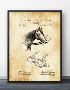 Horse Briddle Bit Patent Blueprint Wall Art Paint Wall Decor Canvas Prints Canvas Art Poster Oil Paintings No Frame
