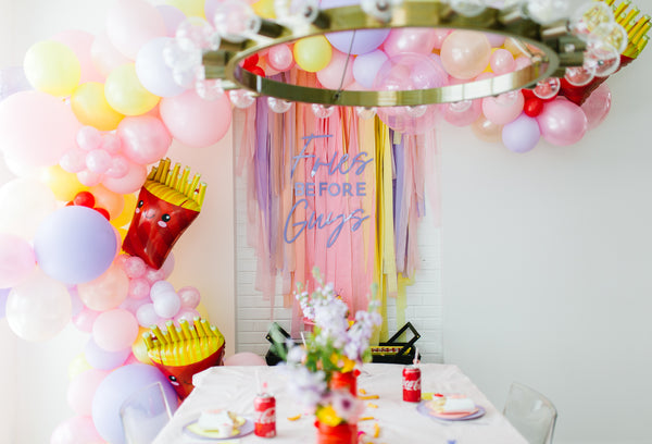 fries before guys; unique party themes; galentines day party; kid birthday party themes; Ellie and piper; party boutique; party supplies; party decor