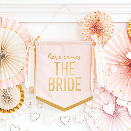 Here Comes The Bride Hanging Banner - Ellie and Piper