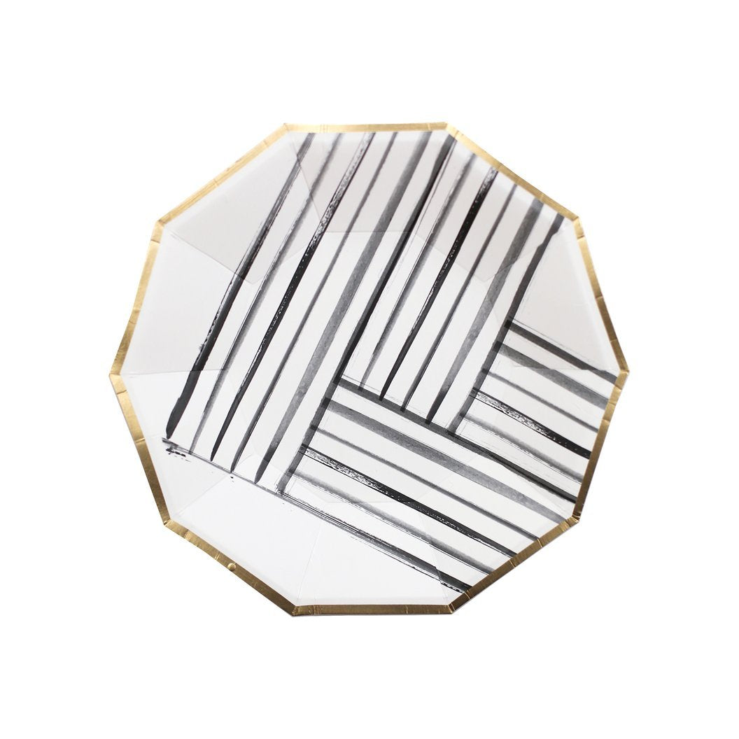 Rebelle - Black and White Brush Strokes Small Paper Plates - Ellie and Piper