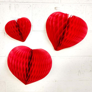 Cerise Pink Heart Honeycomb Decoration (3 sizes) - Ellie and Piper