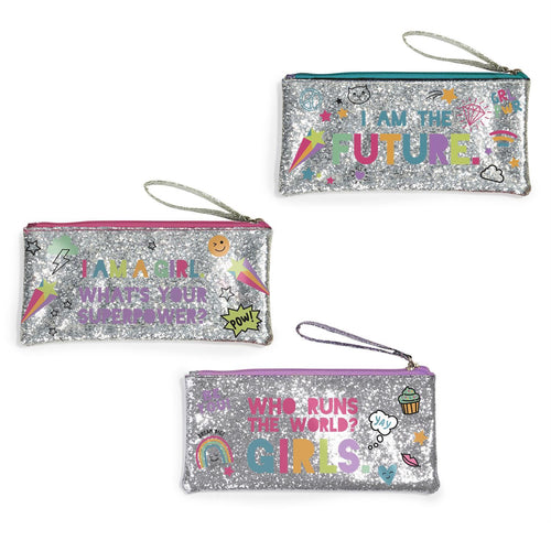 Girl Power Glitter Zipper Bags - Ellie and Piper