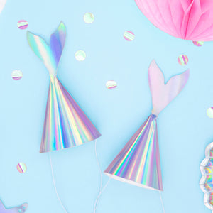 Iridescent Mermaid Tail Party Hats - Ellie and Piper
