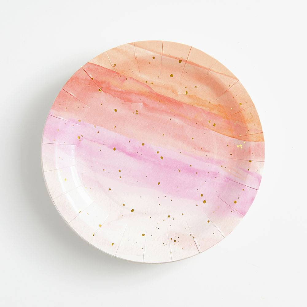 Peach and Lavender Abstract Watercolor Large Plate - Ellie and Piper