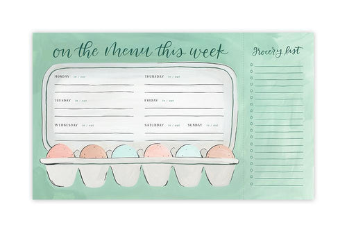 Egg Weekly Menu + Grocery List Notepad