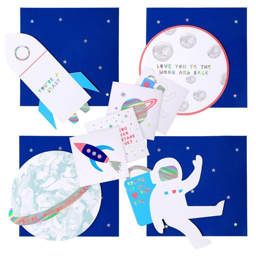 Space Themed Valentine's Day Cards Set with Temporary Tattoos