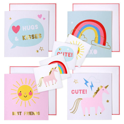 Unicorn Themed Valentine's Day Cards Set with Temporary Tattoos