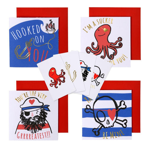 Pirate Themed Valentine's Day Cards Set with Temporary Tattoos