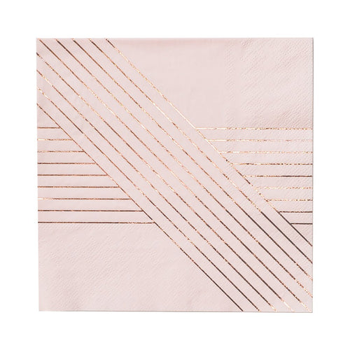 Amethyst Pale Pink Striped Lunch Paper Napkins - Ellie and Piper
