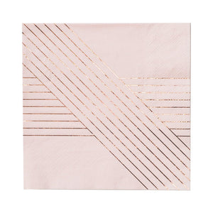 Harlow and Grey Amethyst Pale Pink Striped Lunch Paper Napkins