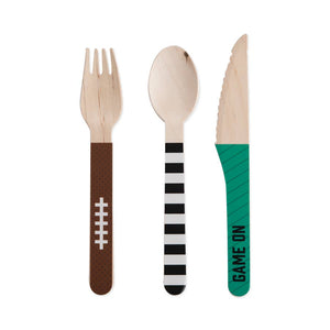 Football Tailgate Wood Cutlery - Ellie and Piper