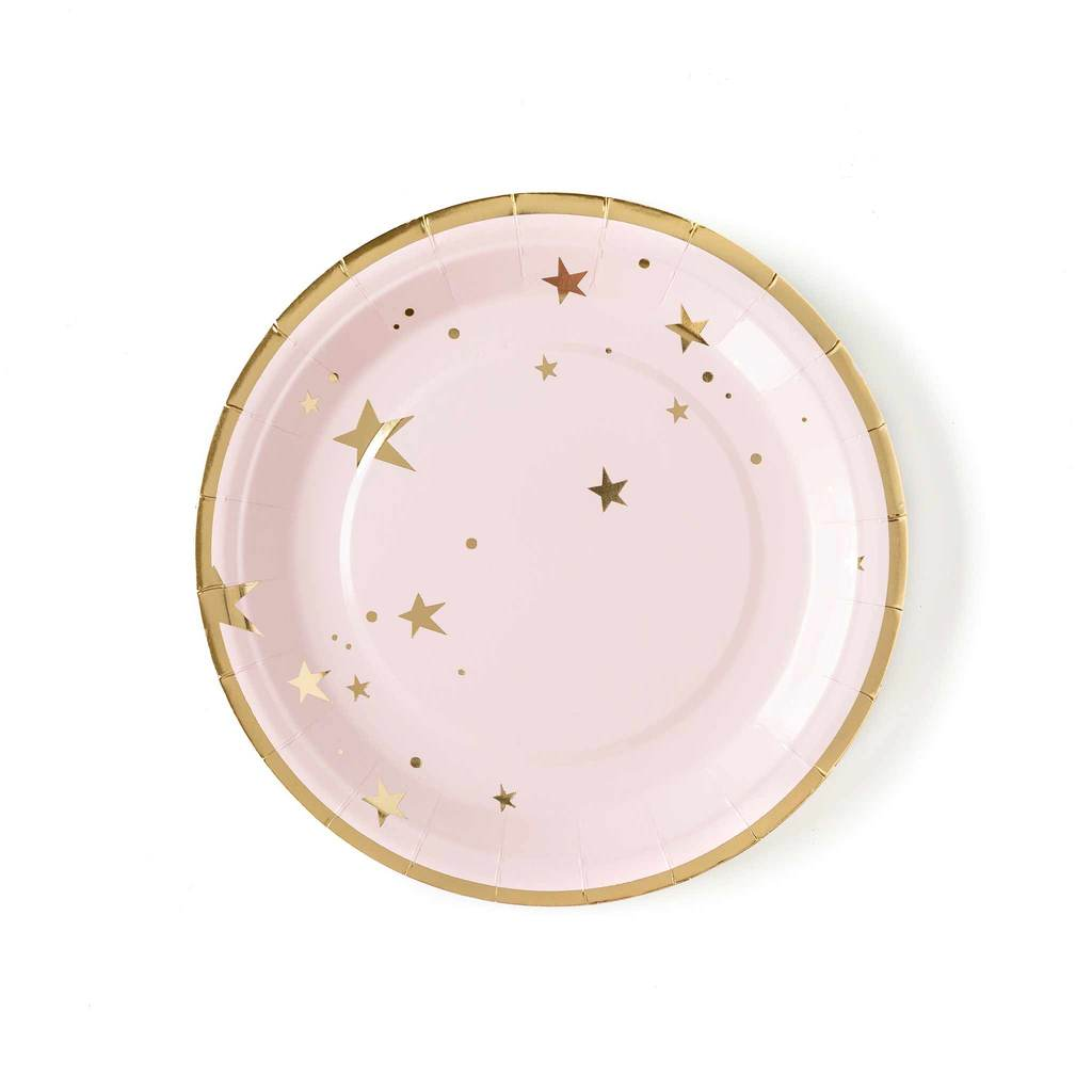 Baby Pink Star Large Paper Plates - Ellie and Piper