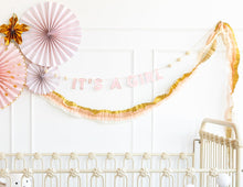 Baby Pink and Gold Crepe Paper Garland - Ellie and Piper