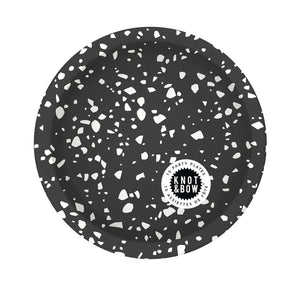 BLACK AND WHITE CHIP SMALL PARTY PLATE