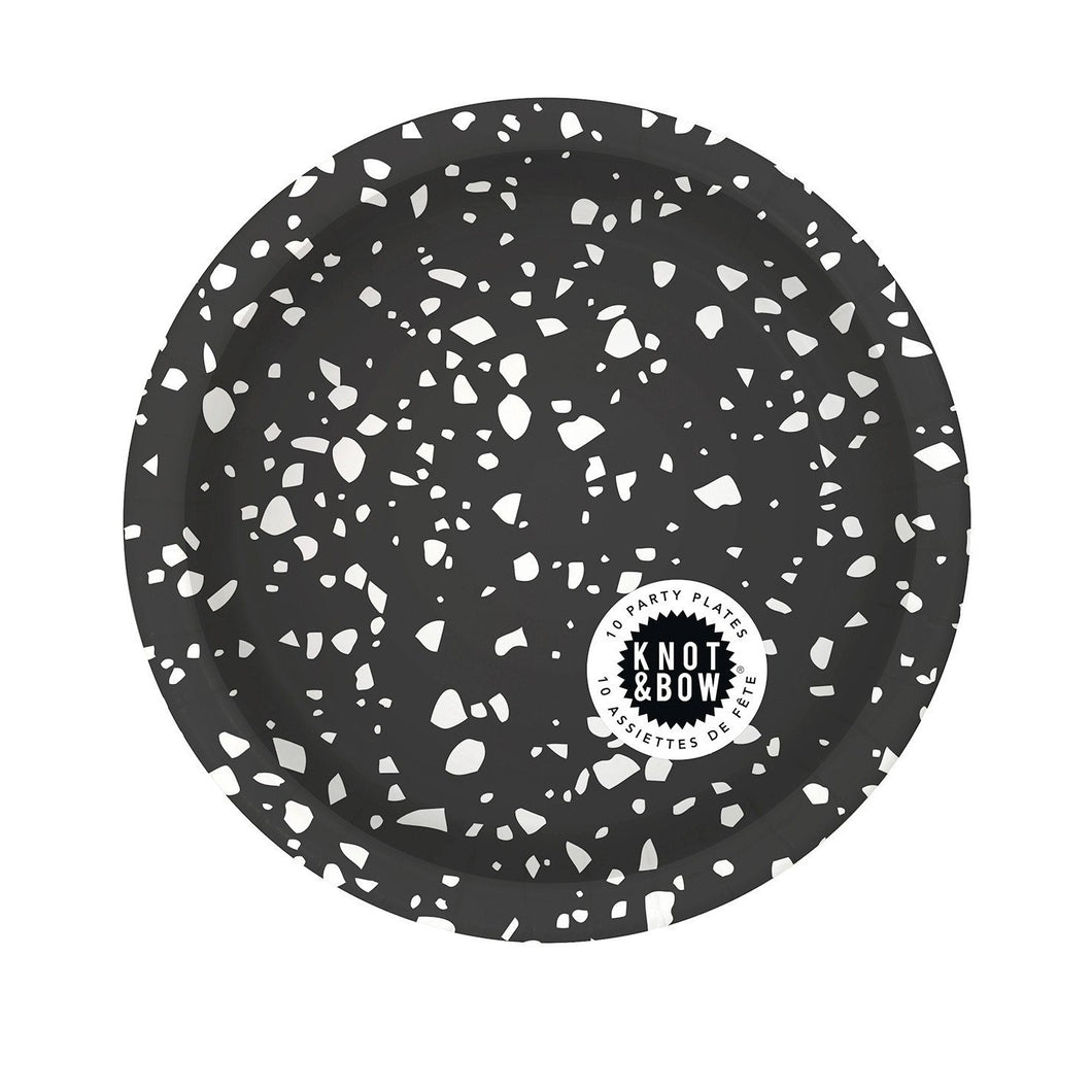 Black And White Chip Small Paper Party Plates - Ellie and Piper