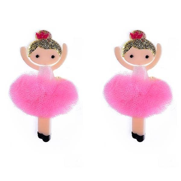 Hot Pink Tutus Ballerina Alligator Hair Clips - Ellie and Piper