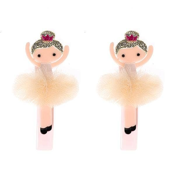 Vintage Ivory Tutus Ballerina Alligator Hair Clips - Ellie and Piper