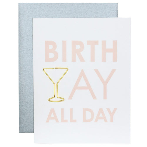 Birth Yay All Day Paper Clip Letterpress Card - Ellie and Piper