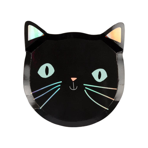 Black Cat Halloween Paper Plates - Ellie and Piper