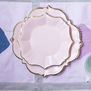 Ornate Blush Pink Dessert Paper Plates - Ellie and Piper