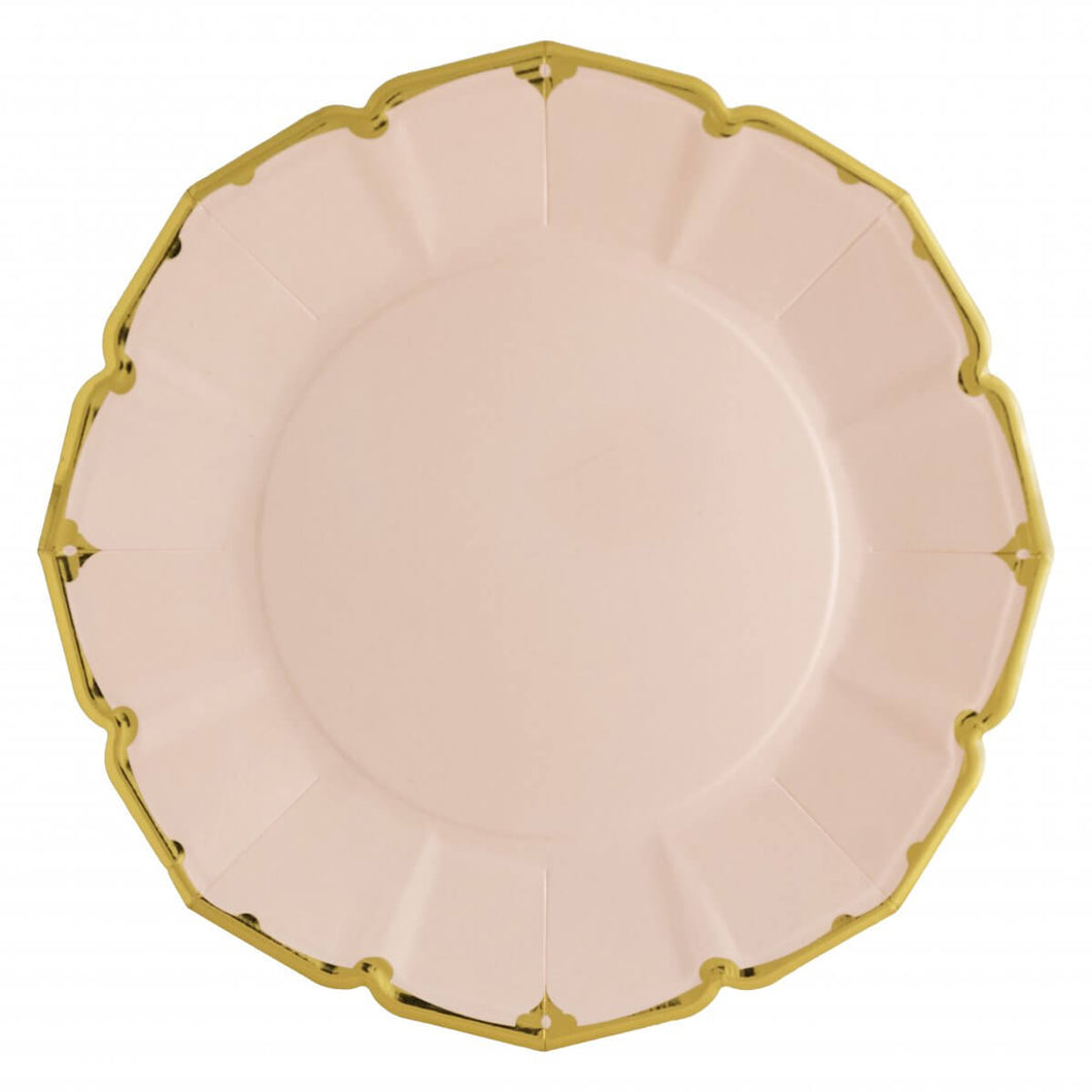 Ornate Blush Pink Dinner Paper Plates - Ellie and Piper