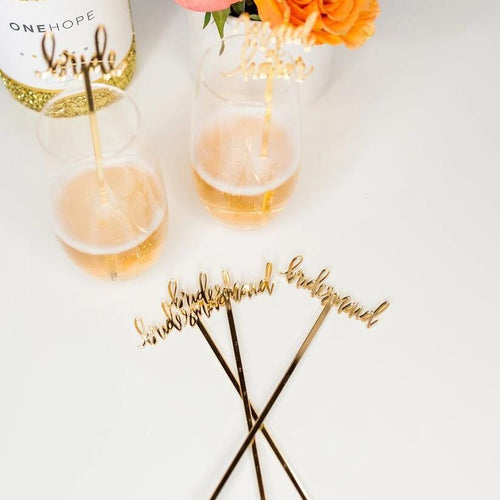Bridal Party Gold Acrylic Cocktail Stirrers & Cake Toppers by Chez Gagne