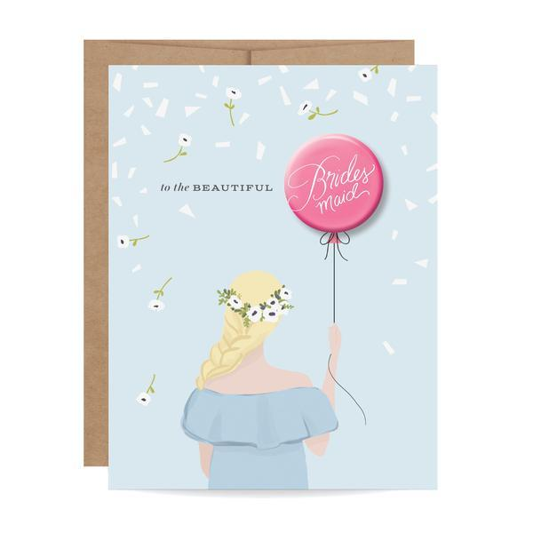 Bridesmaid Button Card - Blonde - Ellie and Piper