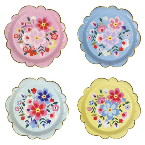 Bright Floral Kashmiri Large Paper Plates - Ellie and Piper