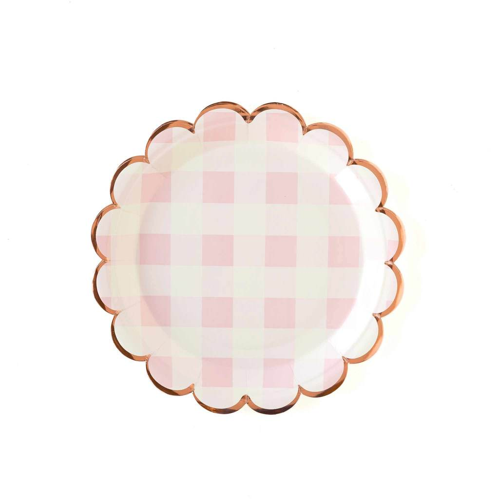 Pink Gingham Scalloped Large Paper Plates - Ellie and Piper