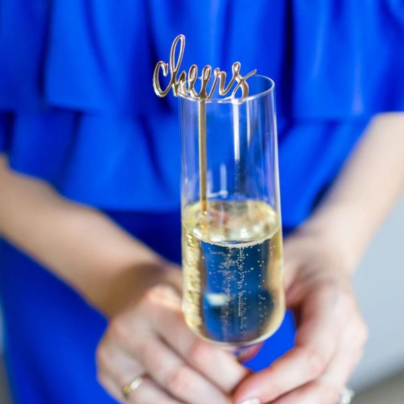 Cheers Gold Acrylic Cocktail Stirrers & Cake Toppers