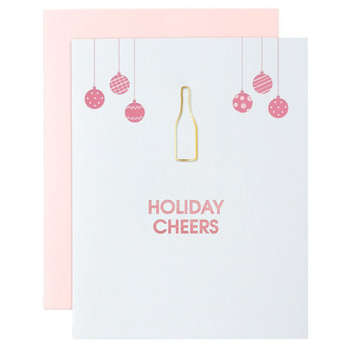 Holiday Cheers Paper Clip Letterpress Card - Ellie and Piper
