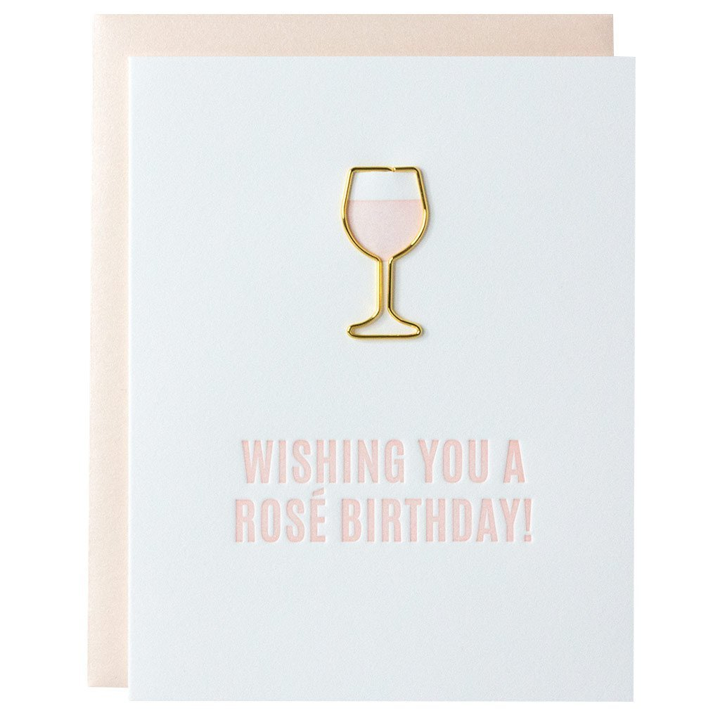 Wishing You a Rosé Birthday Paper Clip Letterpress Card by Chez Gagne