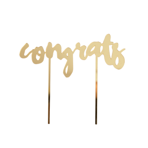 "Gold-Mirrored Cake Topper - ""Congrats"""