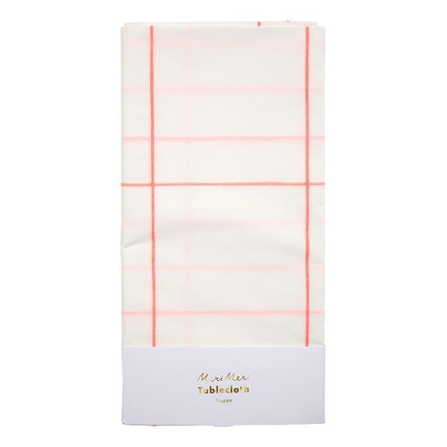 Coral Grid Paper Tablecloth