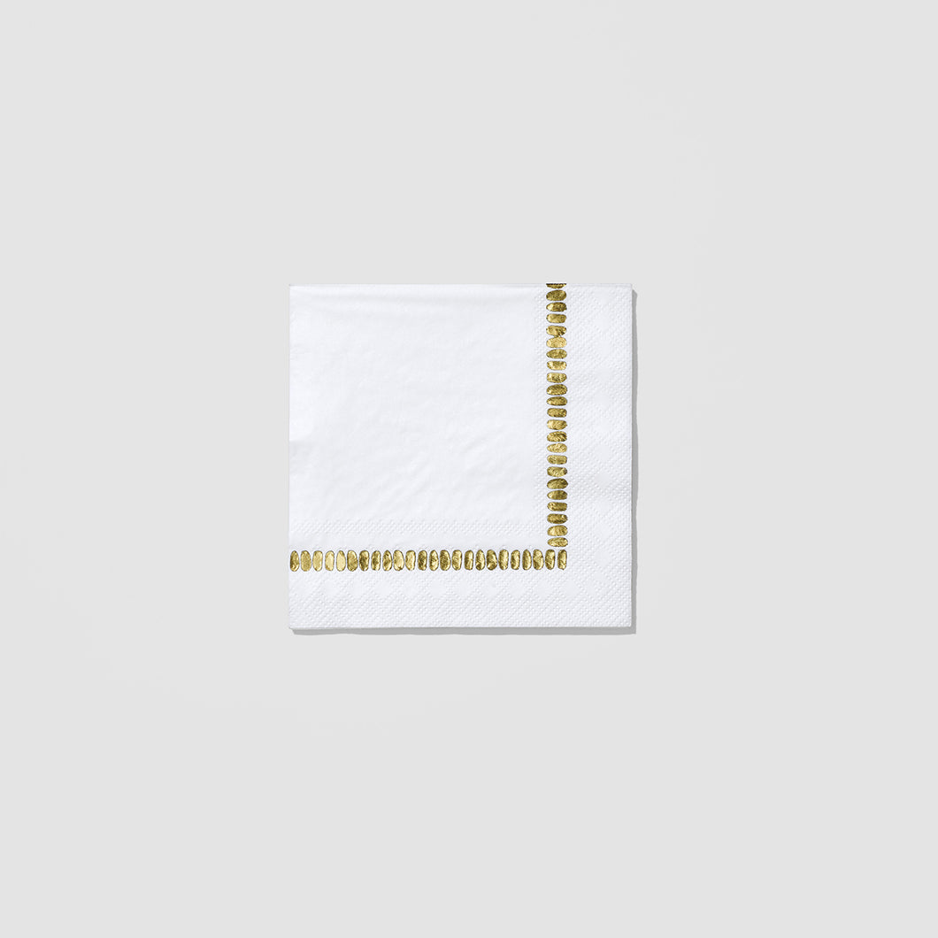 White Brushstroke Cocktail Napkins