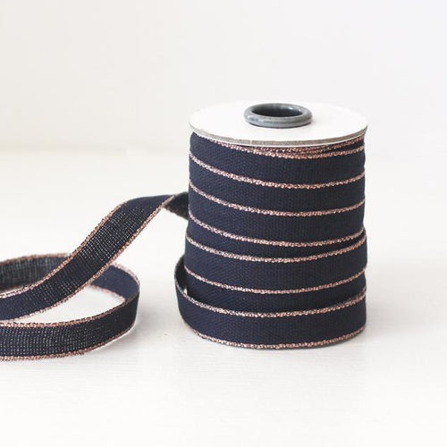 Drittofilo Cotton Ribbon - Indigo/Rose Gold - Ellie and Piper